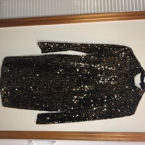 Gold and black sequin dress